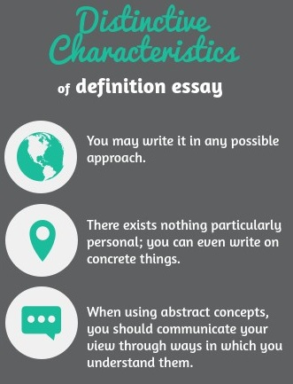 What are distinctive characteristics of a definition essay? First of all, you may write it in any possible approach. In addition, there exists nothing particularly personal; you can even write on concrete things. And when using abstract concepts, you should communicate your vies through ways in which you understand them.