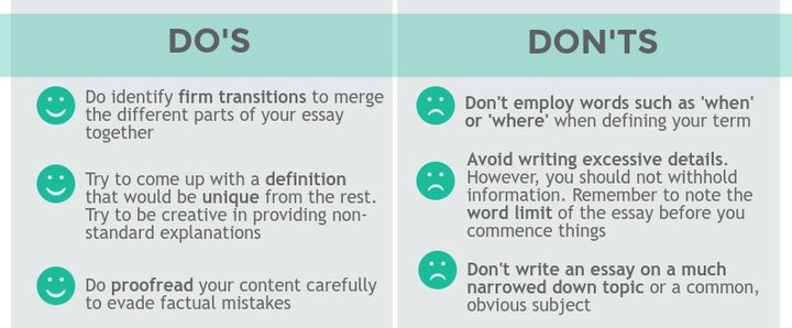 "The do's of effective definition essay writing are the following: 1) do identify firm transitions to merge the different parts of your essay together 2) try to come up with a definition that would be unique from the rest, try to be creative in providing non-standard explanations 3) do proofread your content carefully to evade factual mistakes. The don'ts are: 1) don't employ words such as 'when' or 'where' when defining your term, for instance: ""Totalitarianism is when the government efforts to control the society."" Make your definitions look much scientific 2) don't write an essay on a much narrowed down topic or a common, obvious subject 3) avoid writing excessive details. However, you should not withhold information. Remember to note the word limit of the essay you commence writing."